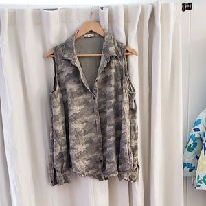 Maurices cold shoulder camo button down